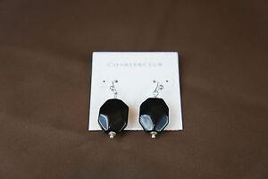 Charter Club Earrings Silver Tone Hook Backs Black Dangle Stone Drop