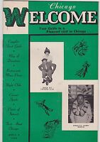 APRIL 8 1950 CHICAGO WELCOME entertainment magazine BURLESQUE - MUSIC