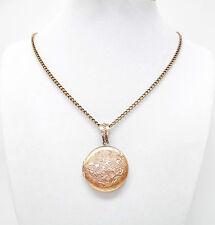 "Vintage Antique Copper Flower Photo Round Locket Pendant Necklace (Family, 20"")"