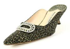 MANOLO BLAHNIK Leopard Canvas Crystal Buckle Pointed Toe Mid-Heel Mules 39.5