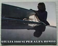 ALFA ROMEO GIULIA 1600 SUPER Car Sales Brochure c1972 #714A41