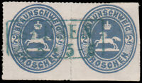 BRUNSWICK 1865 2gr GRAY BLUE PAIR USED #25a CV$250.00