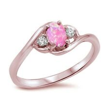 .925 Sterling Silver Ring sizes 5-11 Lab Created Pink Opal & Cubic Zirconia