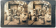 Keystone Stereoview of Shelling Rice in Kashmir, INDIA from the 1930's T400 Set