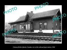 OLD 8x6 HISTORIC PHOTO OF CHATEAU RICHER QUEBEC CANADA RAILROAD DEPOT c1960