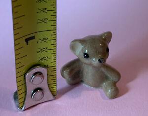 "Vintage 1970s Miniature 3/4"" Hagen Renaker Porcelain Teddy Bear Animal Figurine"