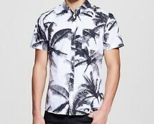 MEN'S MOSSIMO BUTTON DOWN SHIRT MED  SHORT SLEEVE SLIM FIT TROPIC PALM TREE NWOT