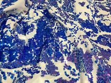 Velvet Sequins - Blue / Lilac - 4 Way Stretch Shiny Reversible Iridescent Fabric