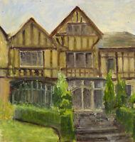Eva Walbourn, Tudor Manor – Original early 20th-century oil painting