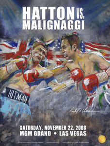 HATTON vs MALIGNAGGI Official Onsite fight poster by Richard T. Slone 18 X 24