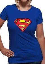 Símbolo de Logotipo de Superman T-Shirt Mujer Damas Azul M UK 10-12