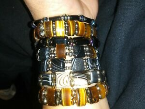 Gemstone Double  Bracelets Black Agate, Tiger Eye, Hemitite and Stainless Steel