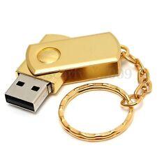128MB USB 2.0 Metal Swivel Gold Flash Drive Memory Stick Thumb Keychain U Disk
