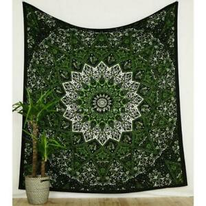 Mandala Tapestry Multi Green Print Indian Wall Hanging Queen Size Bedspread