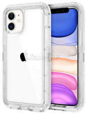 Clear Hybrid Shockproof Hard Case Cover for iPhone 11 Pro Max + Glass Protectors