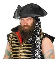 Mens Octopus Pirate Tricorn Costume Hat Black Kraken Tentacles Sea Captain