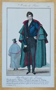 PERIOD COSTUME, Men's Paris Fashion plate 431 antique print 1826