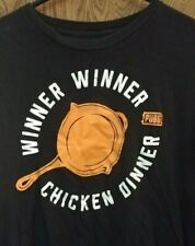 PUBG Mobile game winner chicken dinner black t-shirt men's Size L