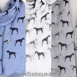 Great Dane print cotton mix ladies lightweight Scarf Sarong dog lover gift
