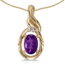 "14k Yellow Gold Oval Amethyst And Diamond Pendant with 18"" Chain"