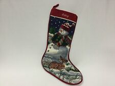 """Tapestry Christmas Stocking Needlepoint Snow Man Deer  19"""" Completed Babsy"""