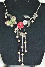 Enamel BUTTERFLY Brooch & FLOWER Necklace Silver 925 Gemstones Marcasite Pearl