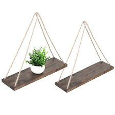 17-Inch Distressed Wood Hanging Swing Rope Floating Shelves Set of 2 Brown