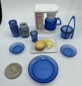 Barbie Doll KITCHEN FOOD ACCESSORIES PLATES CUPS PITCHER VINTAGE BLUE GLASS LOOK