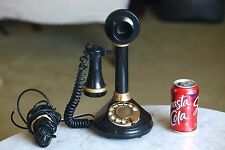 VTG WORKING  BLK GOLD  DECO-TEL CANDLESTICK ROTARY TELEPHONE, TESTED! Works!
