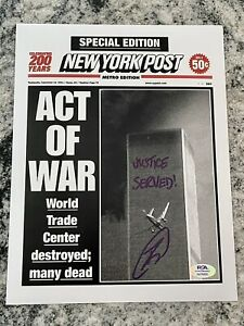 """U.S. Navy SEAL Robert O'Neill Signed NY Post Cover """"Twin Towers"""" PSA"""