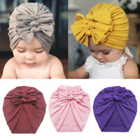 Toddler Baby Boy Girl Turban Bow Head Wrap Beanie Hat Cap Headband Hair Band