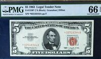 1963 $5 LEGAL TENDER  RED SEAL *STAR* NOTE, PMG66 EPQ GEM UNCIRCULATED,     3723