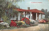 CALIFORNIA BUNGALOW~STYLISH DESIGN WITH COLUMNS~M RIEDER PUBL POSTCARD 1910s