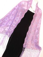 "LILAC CHIFFON W/LILAC FLORAL SEQUIN SCARF,SHAWL WRAP,SARONG,ONE SIZE,68X23""-#205"