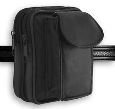 Men's Black Leather Waist Bag with Fixed Belt Loop, Money Belt
