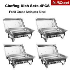 Stainless Steel 9L/8Q 4Pack Chafing Dish Sets Chafer Pans w/ Foldable Legs