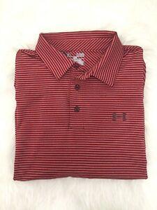 Under Armour Men HeatGear UA Clubhouse Golf Polo Stripe Loose Shirt(1242758-600)