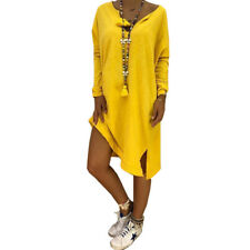 Womens Plus Size Cotton Long Sleeve Tops Blouse V-Neck Loose T-Shirts Midi Dress