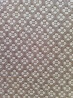 """Vintage Polyester Fabric Brown Floral Salvage Material 60"""" Around x 36"""" A37"""