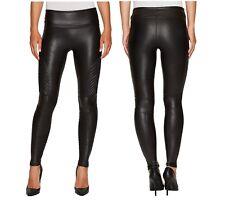 Nuevo Spanx para Mujer de Moda con Imitación Cuero Mojado Negro Leggings Pantalones Moto