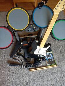 Xbox 360 Rock Band/Guitar Hero Full Set Guitar Mic Drum Kit & Game Tested