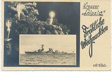 "BETWEEN THE WARS RP Cruiser ""LEIPZIG"" Merry Christmas superb postcard A. Klein"