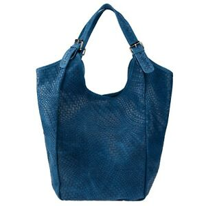 Stella Dutti Italian Made Blue Embossed Leather Oversized Hobo Bag