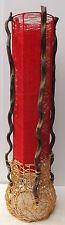 Lámpara de pie cilíndrico en vegetales y tela color rojo roja cm 100x24 n2