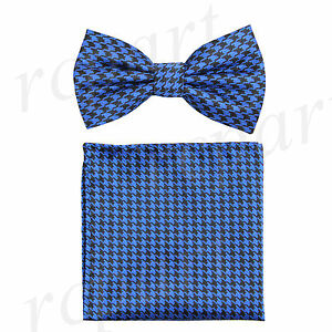 New In Box Men's houndstooth Pre-tied Bow Tie_Hankie Set Formal black royal blue