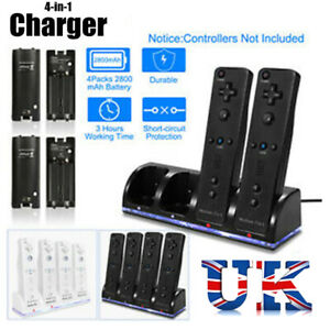 Charging Dock Station with 4pcs 2800mAh Battery For Nintendo Wii Game Remote