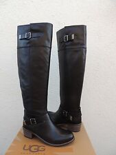 UGG BESS OVER THE KNEE BLACK LEATHER/ SHEEPSKIN BUCKLE BOOTS, US 8.5/ 39.5 ~NEW