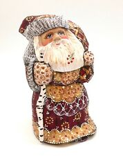 Russian SANTA Father Frost Wooden Hand Carved Hand Painted SIGNED