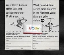 WEST COAST AIRLINES 1966 DC-9 JETS SERVES MORE SKI AREAS IN NORTHERN WEST AD