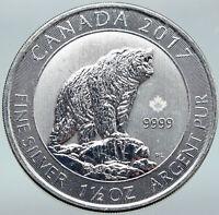 2017 CANADA UK Queen Elizabeth II GRIZZLY BEAR 1 1/2 OZ Silver $8 Coin i87092